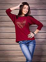 Кофта женская с принтом Сердце надписи p.44-52 цвет бордо VM1875-1