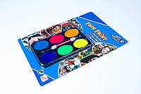 """Краски для грима """"Неоновые"""" 6 цветов и кисточка,№6006Н,аквагрим,набор для творчества"""