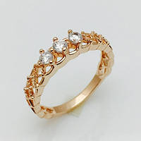 Кольцо сеточка 3 камня, размер 16, 17, 18