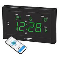 Настенные часы с термометром VST 771 T-4 говорящие салатовые, режим календаря, 220 В, пульт ДУ