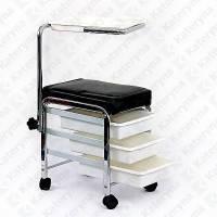 Стул мастера педикюра DORA 3 ящика + столик на колесах КА