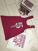 Сарафан с футболкой для девочек 3-8  лет,фукси