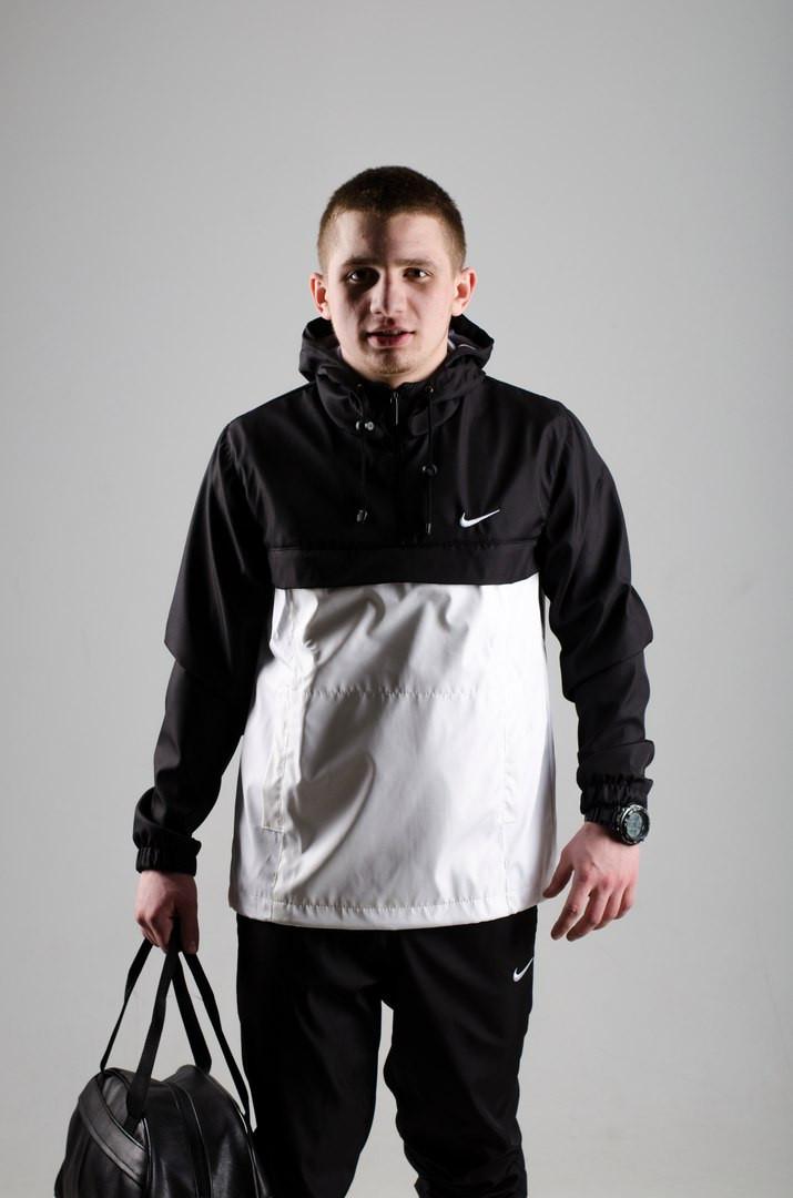 Мужской анорак Nike President черный/белый топ реплика