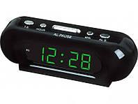 Цифровые настольные часы VST 716-2 зеленые, LED-дисплей, будильник, 220 В, резервное питание 2хААА