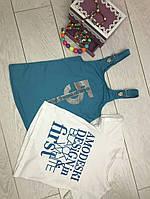 Сарафан с футболкой для девочек 3-8  лет,бирюзовый