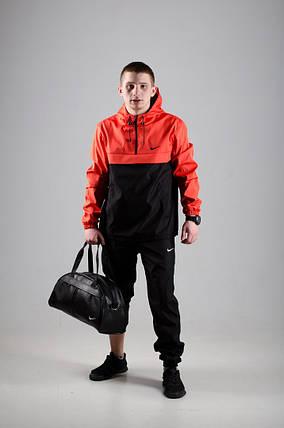 Мужской анорак Nike President черный/оранжевый топ реплика, фото 2