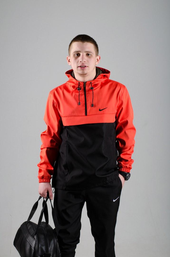 Мужской анорак Nike President черный/оранжевый топ реплика