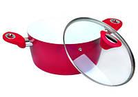 Кастрюля 4.0л из литого алюминия с керамическим покрытием и крышкой (красная)