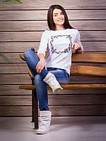 Кофта женская с принтом Loves p.42-52 цвет белый VM1882-1