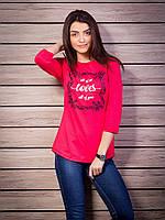 Кофта женская с принтом Loves p.42-52 цвет малиновый VM1882-3