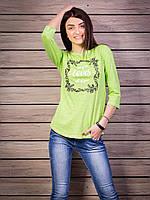 Кофта женская с принтом Loves p.42-52 цвет салатовый VM1882-4