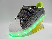 Кроссовки LED  (разм. с 24 по 30) cсветящей подошвой. Розница подзарядка (12режимов)