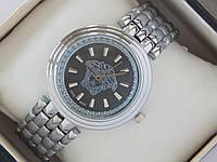 Женские кварцевые наручные часы Versace с логотипом Версачи на металлическом браслете серебряного цвета, фото 1