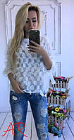 Блуза Белая Кисточки Воздушная Шифоновая Бохо Кофточка Белого Цвета