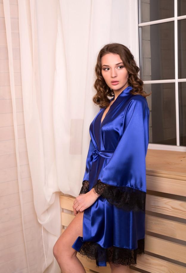 Домашний халат атласный Электрик (синий) - SweetLove - Женское бельё оптом и в розницу в Виннице