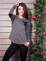 Кофта женская с кожаным кармашком и налокотниками гусиная лапка p.44-46  VM905-2