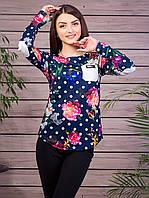 Кофта женская с кожаным кармашком и налокотниками горошек и цветы p.44-46  VM905-8