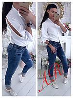 Блуза Белая Рубашка Хлопковая Рукава Разрезы Жемчужинки Кофточка Белого Цвета