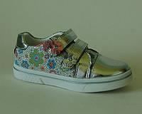 Стильные туфли для девочек полностью кожаные внутри с ортопедической стелькой серебро р.26-31 на липучках Поль