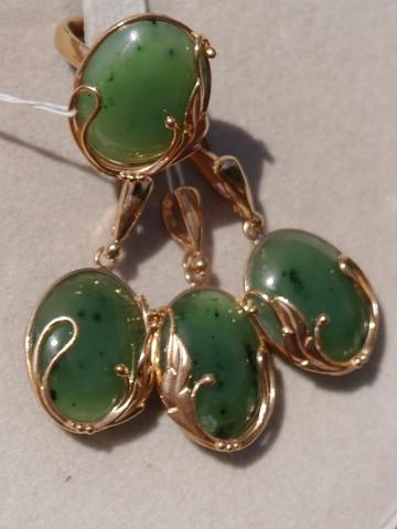 Ювелирные комплекты украшений из серебра с напайками золота с натуральными камнями
