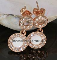 Серьги в красивом исполнении, с кристаллами Swarovski, покрытые золотом (205690)