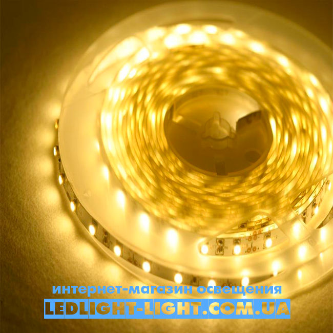 """Світлодіодна стрічка """"LC"""" 12 V 60 діодів/метр 4.8 W теплий, без силікону"""