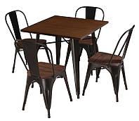 Стол обеденный Т-18 Толикс металлический черный с деревянной столешницей в стиле лофт