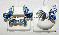 Набор серебряный с цветной эмалью Бабочка