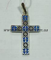 Крест Вышиванка с синей эмалью