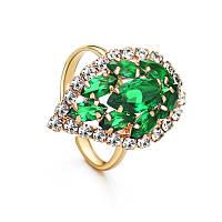 Женское кольцо с позолотой Август необыкновенный 160878 зелёное