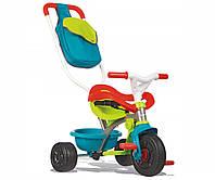 Транспорт для детей «Smoby» (740402) трёхколёсный металлический велосипед с багажником и сумкой зелено-голубого цвета