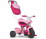 Транспорт для детей «Smoby» (740403) трёхколёсный металлический велосипед с багажником и сумкой малинового цвета