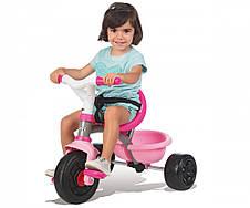 Транспорт для детей «Smoby» (740403) трёхколёсный металлический велосипед с багажником и сумкой малинового цвета, фото 2