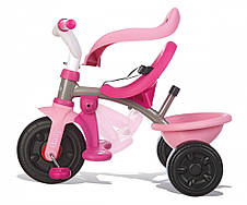 Транспорт для детей «Smoby» (740403) трёхколёсный металлический велосипед с багажником и сумкой малинового цвета, фото 3