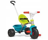 Транспорт для детей «Smoby» (740314) трёхколёсный металлический велосипед с багажником зелено-голубого цвета