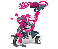 Транспорт для детей «Smoby» (740600) трёхколёсный металлический велосипед Комфорт с козырьком, багажником и сумкой розового цвета