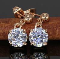 Серьги с яркими австрийскими кристаллами, покрытые золотом (205700)