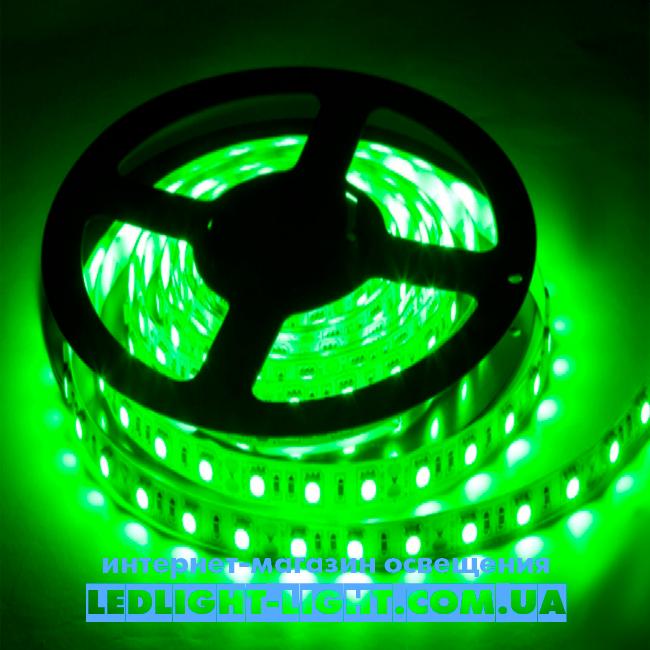 """Світлодіодна стрічка """"LC"""" 12 V 60 діодів/метр 4.8 W зелений, без силікону"""