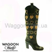 Сапоги кожа в сердечки Waggon