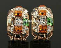 Серьги в ослепительном дизайне с кристаллами Swarovski, покрытые слоями золота (213502)
