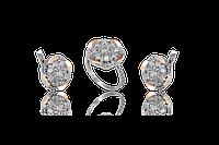 НАБОР серебряные серьги 925 пробы и кольцо с золотыми пластинами 375 пробы,вставками,накладками ЗОЛОТА ГЛАЗУРЬ