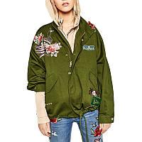 Куртка парка в стиле Zara с вышивкой
