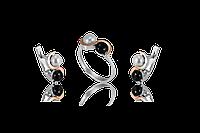 НАБОР серебряные серьги 925 пробы и кольцо с золотыми пластинами 375 пробы,вставками,накладками ЗОЛОТА ИНЬ-ЯНЬ