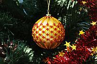 Елочный шар ручной работы из бисера (Игрушка на елку в виде шара, новогодняя игрушка,подарочный шар)