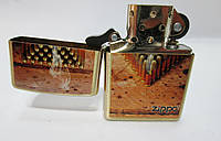 Зажигалка ZIPPO(28674)золотистая, рисунок- патроны, матовая