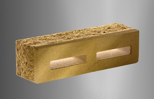 Облицовочный кирпич «Литос» узкий пустотелый «колотый» тычковой