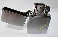 """Зажигалка ZIPPO(28642) серебристая, матовая, с гравировкой надписей """"ZIPPO"""""""