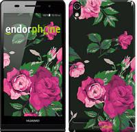 "Чехол на Huawei Ascend P6 Розы на черном фоне ""2239c-39"""