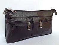 Сумочка-клатч с длинным и коротким плечевым ремнем черного цвета