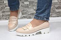Туфли лоферы бежевые на тракторной подошве, фото 1